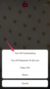 Cara Menghilangkan Komentar di live IG