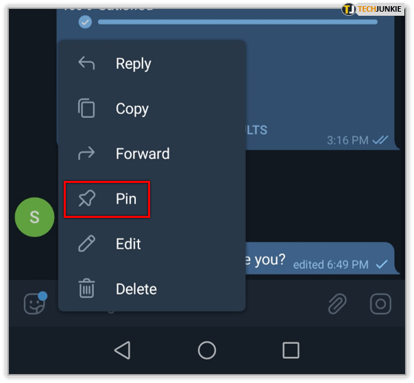 Cara Pinned Message di Telegram